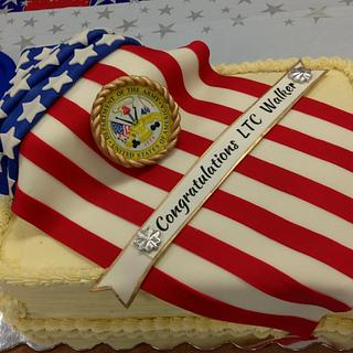 Army Promotion - Patriotic Flag Cake - Cake by Susan Russell