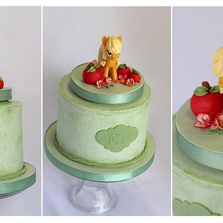 Applejack Bithday Cake with a keepsake toy.