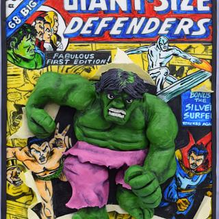 2D comic book with 3D Hulk Busting out!