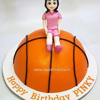 Basketball shaped 3D cake for girls birthday
