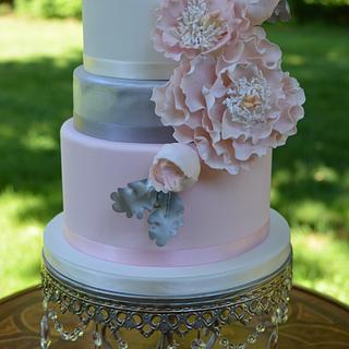 Blush and Sliver Engagement Cake