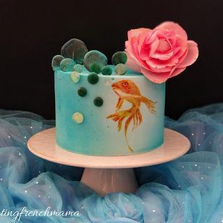 fish and camelia cake