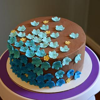 Chocolate Cake with Blue Flowers