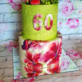 Flower print birthday cake