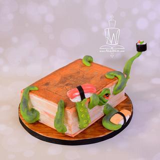 Kraken Book Cake