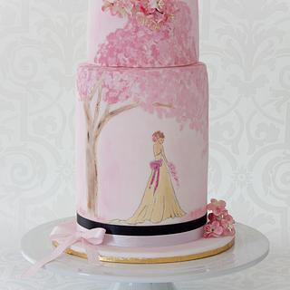 Hand Painted Cherry Blossom Cake