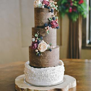 Natural Ganache and Peony/Blackberry Wedding Cake