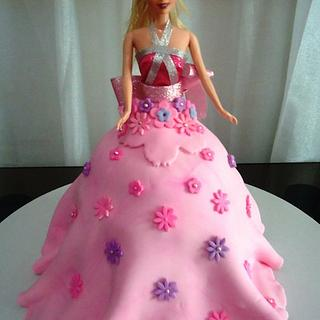 My First Fondant Covered Barbie Doll Cake