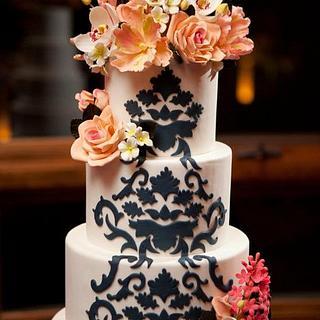 Damask and Sugar Flower Wedding Cake