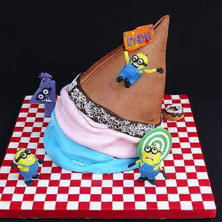 A big big ice cream cake and minions