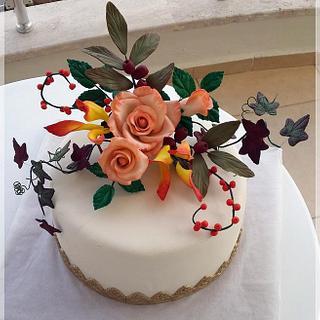 fondant flowers cake
