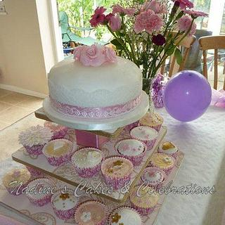 Pretty Pink Wedding Cake and Cupcakes
