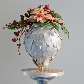 Christmas ball with christmas flower piece