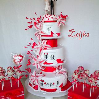 Wedding red white cake WITH Stickman
