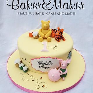 Classic Winnie the Pooh Handpainted 1st Birthday Cake