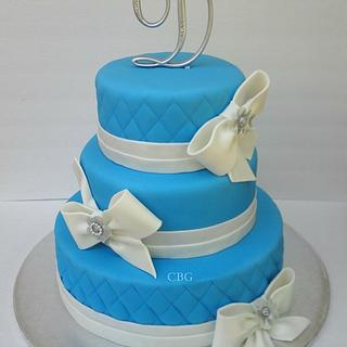 White and Blue 15th Birthday Cake
