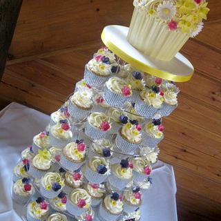 Bright Flowery Wedding Cupcake Tower
