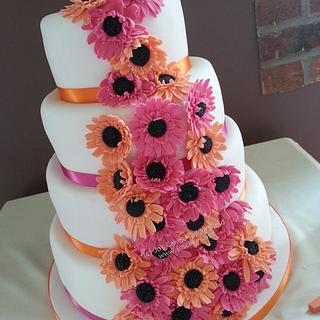 Hot Pink and Orange Gerberas Wedding Cake