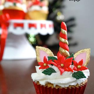 Christmas Unicorn Cupcakes