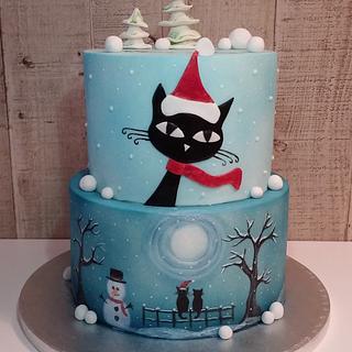 Cat christmas cake