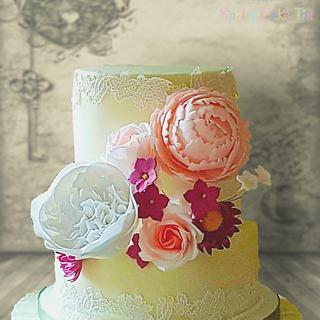 Floral lace cake - Cake by Shell at Spotty Cake Tin