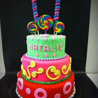 3 tier candy theme bday cake - Cake by Amy