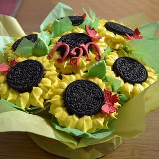 sunflower cupcake bouquet - Cake by glenda