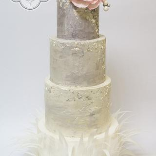 Gray rustic buttercream wedding cake