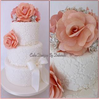 Lace Wedding Cake with Paper Flowers