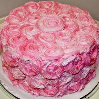 Pink Rosette cake in buttercream