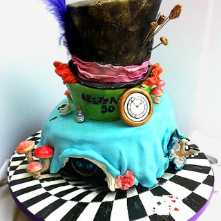 Mad Hatters cake, my first topsy turvy