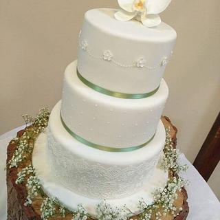 Orchid Wedding Cake - Cake by Helen Alborn