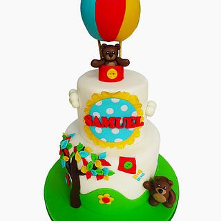 Colourful christening cake
