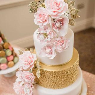 Gold and Pink Roses