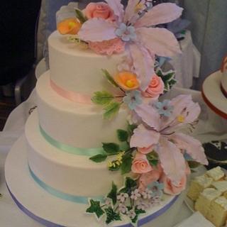 Pastel Rainbow sugar flower cake.