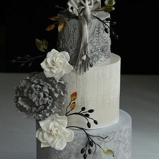 Gray Floral Cake