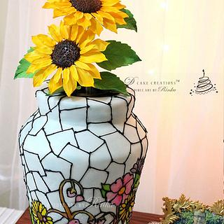 Stained Glass Flower Vase