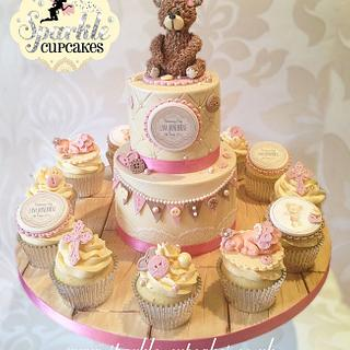 Vintage Cub Teddy Bear Christening Cake with matching cupcakes