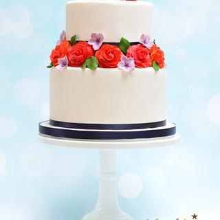 Bright roses wedding cake