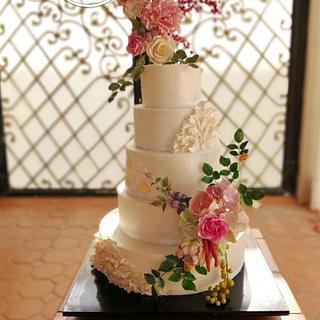 Floral Wedding Cake with Handmade Sugar flowers