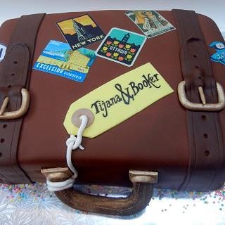 Travelers wedding cake