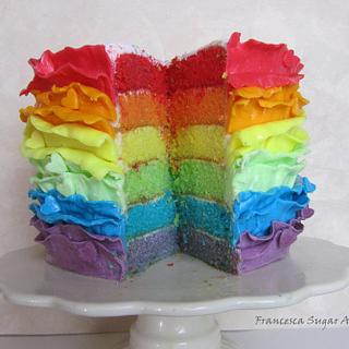 Rainbow Cake with Ruffles