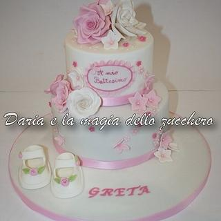 baptism cake with roses