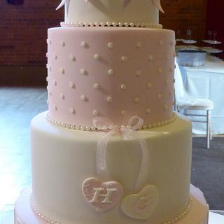 Pretty Pink & Ivory Wedding Cake