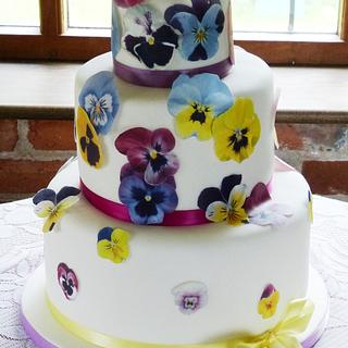 Falling Pansies and Violets wedding cake - Cake by Angel Cake Design