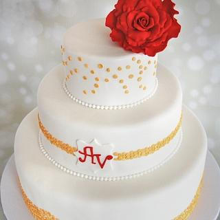 Gold and Red Wedding Cake
