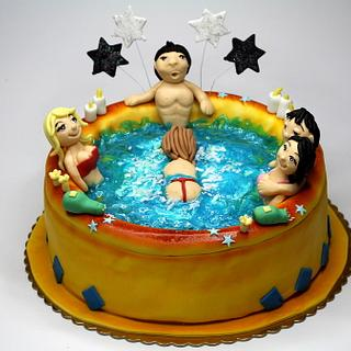 Sexy Girls in Jacuzzi Naughty Cake