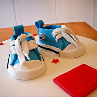 Converse boots christening cake