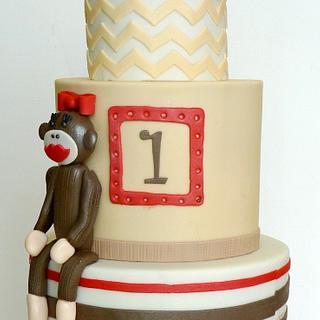 Girlie Sock Monkey 1st Birthday Cake