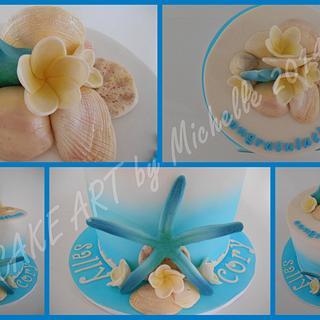 Beach Themed Engagement Cake